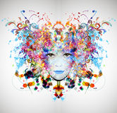 La cara de la mujer brillante de los colores Imágenes de archivo libres de regalías