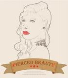 La cara de la mujer con la moda de la perforación y del tatuaje Imagen de archivo