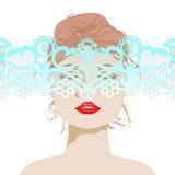 La cara de la mujer hermosa con el cordón, mujer atractiva, labios brillantes, un cordón apacible, ejemplo del vector ilustración del vector