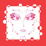 La cara de la mujer roja Foto de archivo libre de regalías