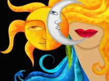 La cara de la mujer y el sol y la luna Foto de archivo libre de regalías