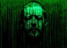 La cara del hombre con los ojos se cerró, sumergido en una matriz del código binario Fotos de archivo libres de regalías