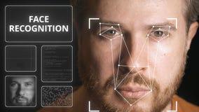 La cara del hombre de la exploración del sistema informático Clip relacionado del reconocimiento de cara almacen de metraje de vídeo