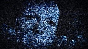 La cara del hombre en parásitos atmosféricos de la TV ilustración del vector