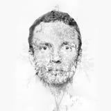 La cara del hombre mezclada con el pequeño árbol sale del modelo Foto de archivo libre de regalías