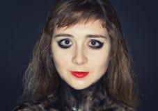La cara del ` s de la muchacha del adolescente con brillante compone Foto de archivo libre de regalías