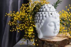 La cara ritual espiritual de la meditación de Buda en la madera, decoración casera, primavera amarilla de la mimosa florece imágenes de archivo libres de regalías