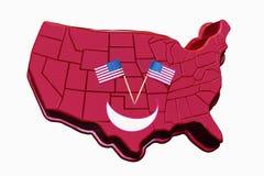 La cara sonriente 3D Estados Unidos traza con las banderas como ojos - aislados en blanco Fotografía de archivo