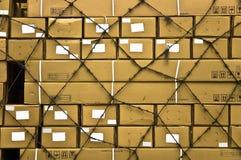 La cargaison multiple enferme dans une boîte le fond abstrait. photographie stock