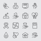 La carità e dona la linea icona 1 immagini stock libere da diritti