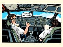 La carlinga de aviones pilota al capitán del aeroplano stock de ilustración