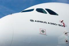 La carlinga de los aviones más grandes del mundo - Airbus A380 imagen de archivo libre de regalías