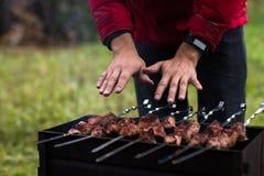 La carne è fritta sulla griglia Fotografie Stock Libere da Diritti