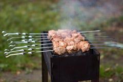 La carne è fritta sulla griglia Fotografia Stock