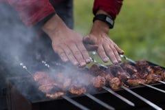 La carne è fritta sulla griglia Immagine Stock Libera da Diritti