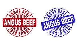 La CARNE DE VACA de ANGUS del Grunge texturizó los sellos redondos del sello stock de ilustración
