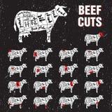 La carne de vaca corta el sistema de la plantilla del vector Imagen de archivo libre de regalías
