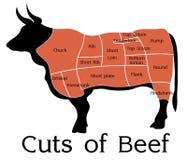 La carne de vaca del vector corta la carta Imagenes de archivo