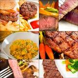 La carne de vaca sirve el collage Fotografía de archivo