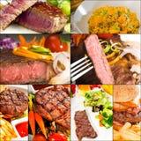 La carne de vaca sirve el collage Fotos de archivo
