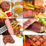La carne de vaca sirve el collage Imagen de archivo libre de regalías