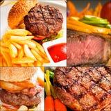 La carne de vaca sirve el collage Imagenes de archivo