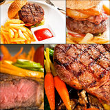 La carne de vaca sirve el collage Foto de archivo