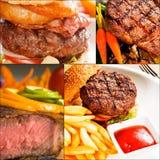 La carne de vaca sirve el collage Imágenes de archivo libres de regalías