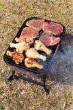 Barbacoa de la carne de vaca y del pollo Imagen de archivo libre de regalías