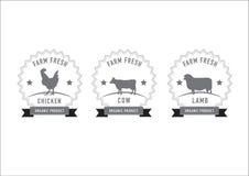 La carne della macelleria timbra ed etichette Immagini Stock Libere da Diritti
