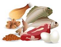 La carne Eggs i fagioli Nuts Fotografia Stock