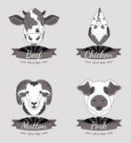 La carne etiqueta la colección Imágenes de archivo libres de regalías