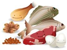 La carne felice Eggs i fagioli Nuts Immagine Stock Libera da Diritti
