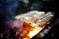 La carne se fríe en la parrilla Fotografía de archivo libre de regalías