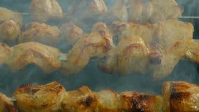 La carne sugli spiedi è fritta sui carboni stock footage
