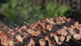 La carne sugli spiedi arrostisce sulla fine all'aperto della griglia tenuta in mano del barbecue su shashlik stock footage