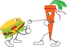 La carota combatte l'hamburger Fotografia Stock Libera da Diritti