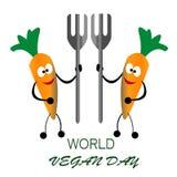 La carota della celebrazione due del giorno del vegano del mondo porta il concetto della forcella Fotografie Stock Libere da Diritti