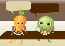 La carota ed il pisello stanno comunicando Immagini Stock Libere da Diritti