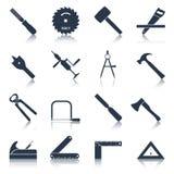 La carpintería equipa negro de los iconos Foto de archivo libre de regalías