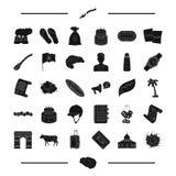 La carrera de caballos, el postre, el viaje y el otro icono del web en estilo negro comida, iconos de la arquitectura en la colec ilustración del vector