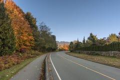 La carretera de asfalto y el pavimento del peatón en los suburbios acercan a rojo y Fotografía de archivo libre de regalías
