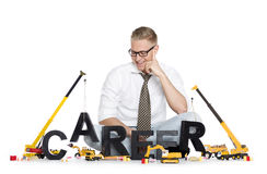 La carrière démarrent vers le haut : Carrière-mot de construction d'homme d'affaires. Photographie stock
