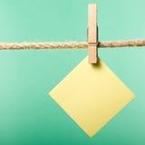 La carta in bianco nota l'attaccatura sulla corda con le mollette per il bucato, spazio della copia immagine stock libera da diritti