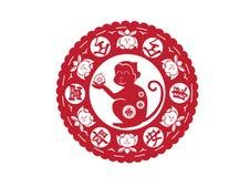 La carta cinese della scimmia ha tagliato le arti, il nuovo anno cinese, vettore illustrazione di stock