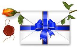 La carta con la cinta azul, arqueamiento, sello de la cera y se levantó. ilustración del vector