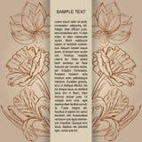 La carta con la mano paimted i fiori ed il posto di schizzo per testo Fotografia Stock