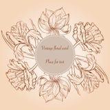 La carta con la mano paimted i fiori ed il posto di schizzo per testo Immagine Stock