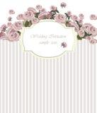 La carta d'annata dell'invito con l'acquerello fiorisce il fondo Fotografia Stock