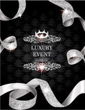 La carta d'annata elegante dell'invito con seta ha strutturato i nastri arricciati dell'oro ed il fondo di cuoio royalty illustrazione gratis